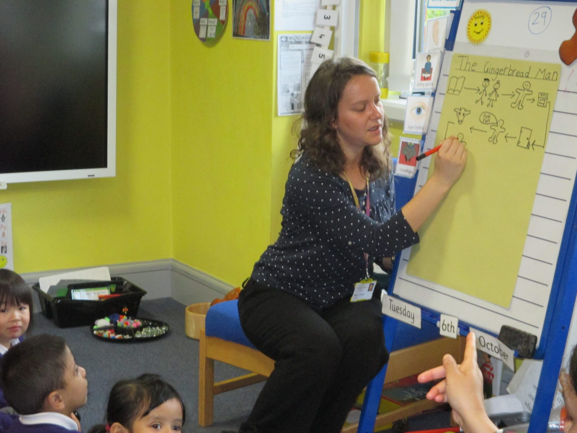 Teacher and flipchart Burnley Brow Community School
