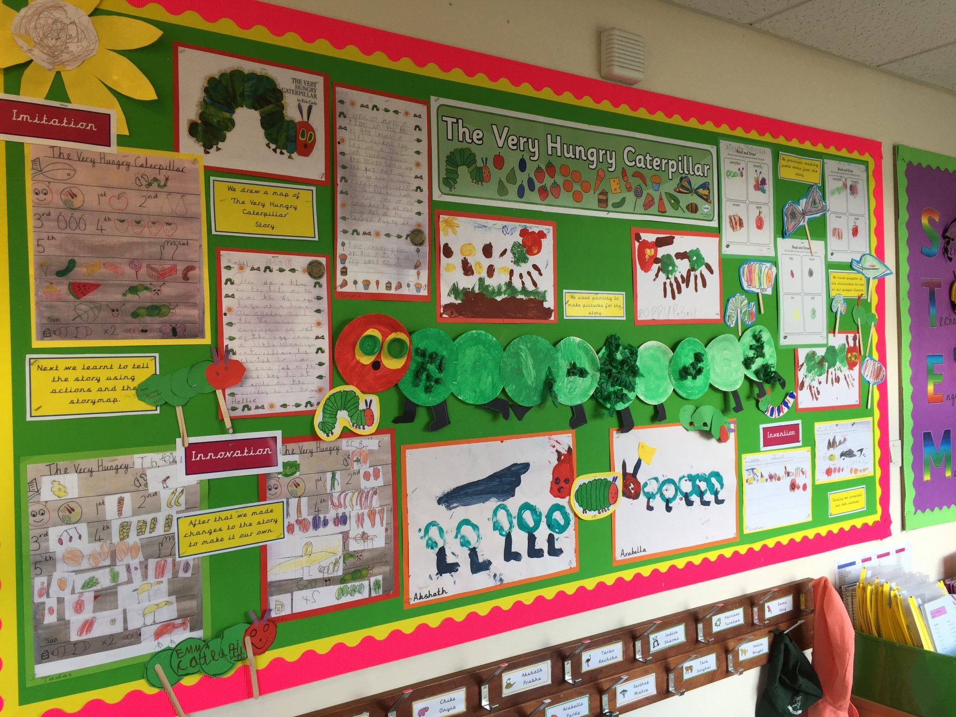 Hungry Caterpillar display Warren Road Primary School