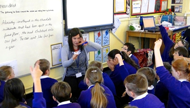 Teacher and class Selby Community Primary