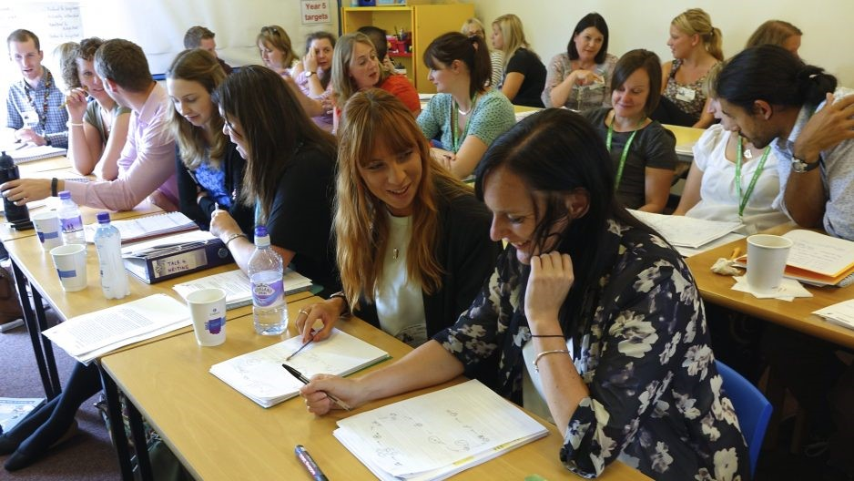 Teachers in discussion at Talk for Writing teacher training