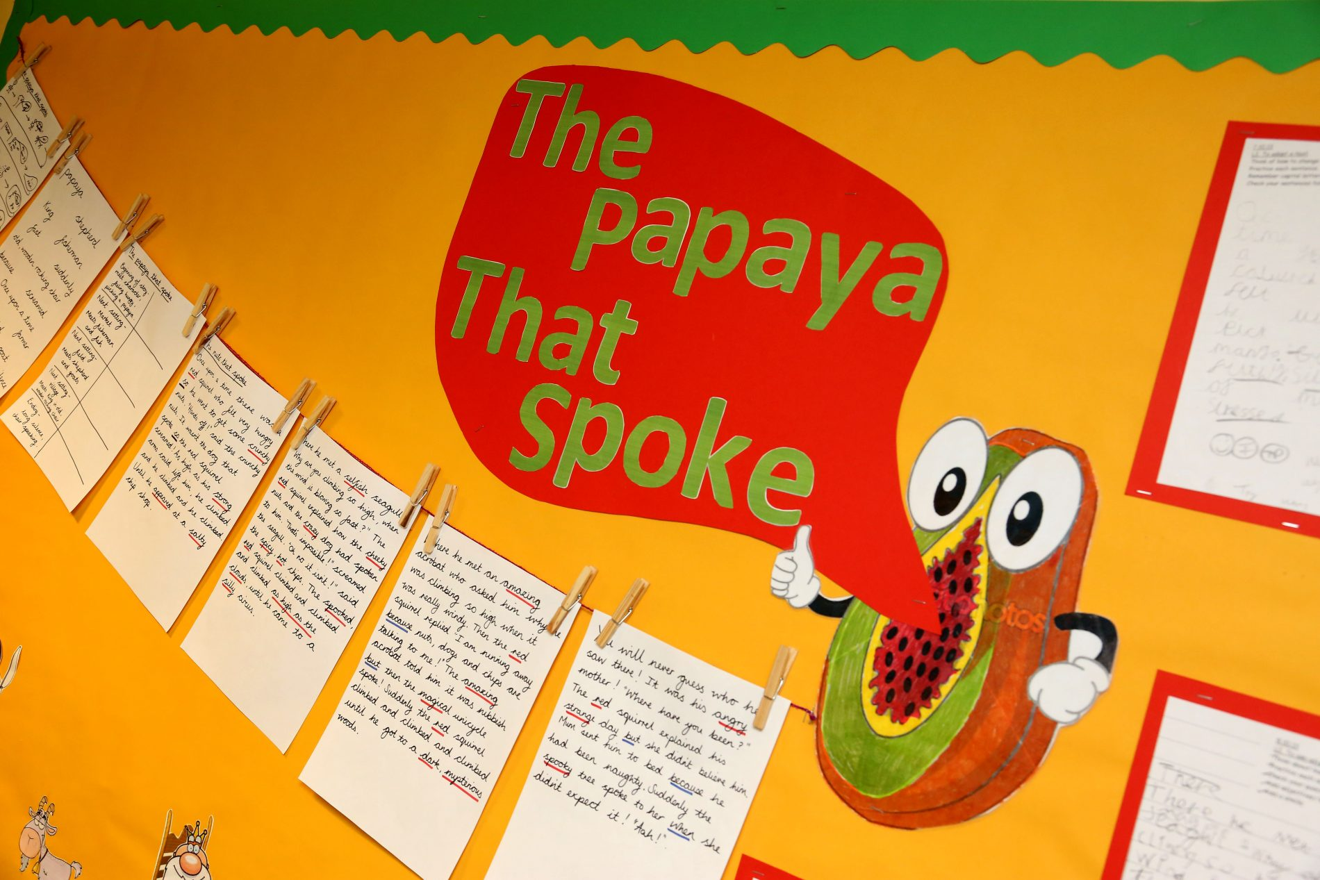 Papaya That Spoke display West St Leonards Primary Academy