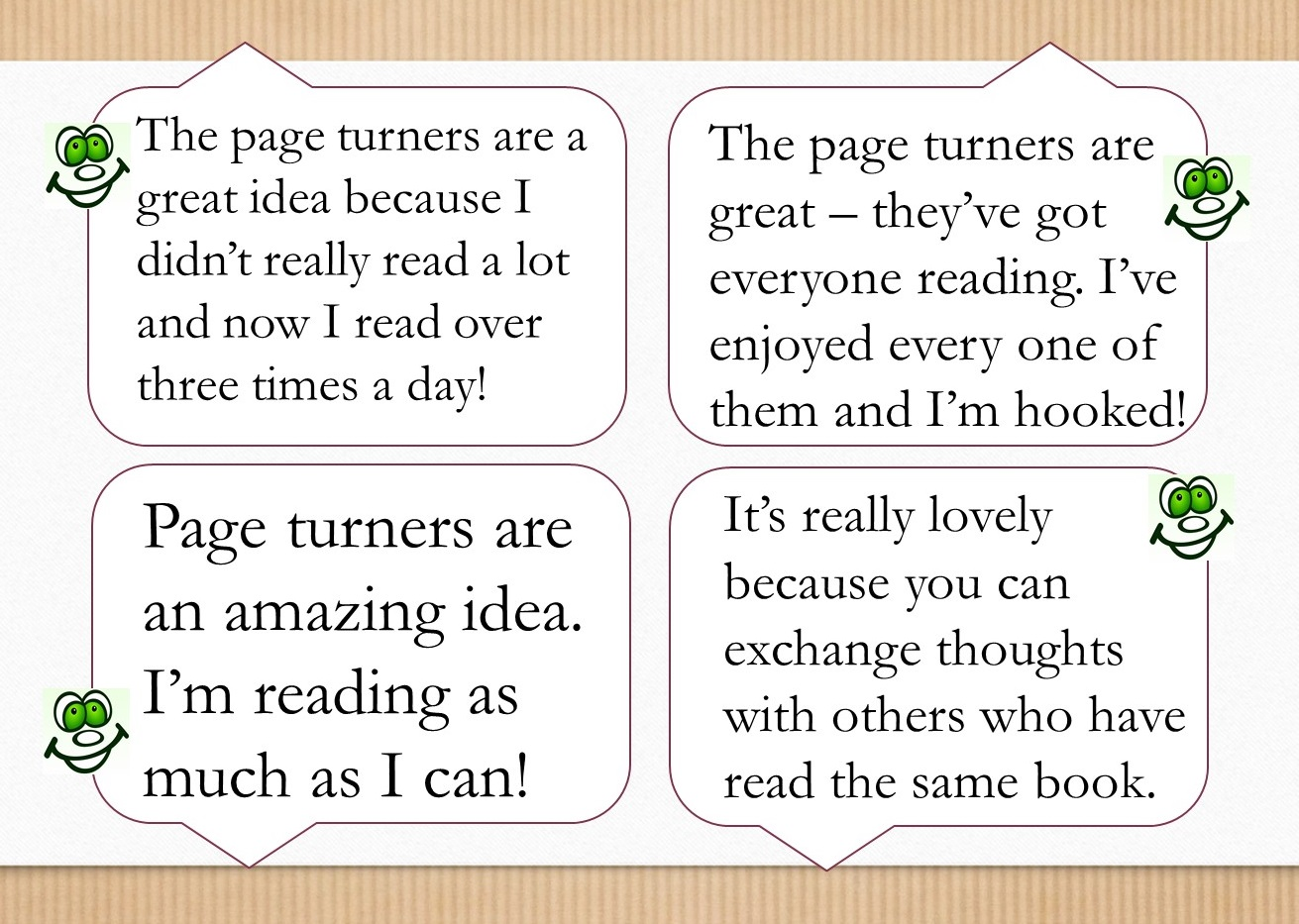 Talk for Writing Maidwell Primary page turner quotes