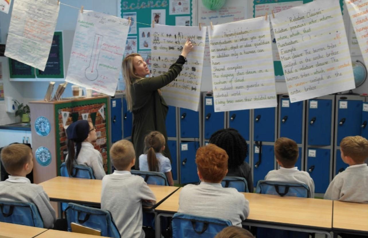 Teacher at flipchart Maidwell Primary School